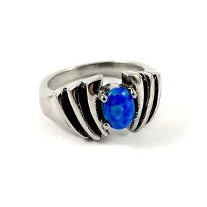 Silver Tone Simulated Black Opal Ring Size 6